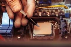 Stosować termiczną pastę na procesorze fotografia stock