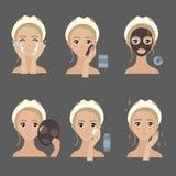 Stosować twarzowych maska kroki nawilżanie i trądzik Royalty Ilustracja