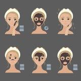 Stosować twarzowych maska kroki Sposoby stosować Royalty Ilustracja