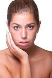 stosowanie opieki skóry przejrzystego lakier Zdjęcia Stock