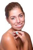 stosowanie opieki skóry przejrzystego lakier Zdjęcie Royalty Free