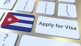 STOSUJE DLA wiza teksta i flagi Kuba na guzikach na komputerowej klawiaturze Konceptualna 3D animacja zbiory