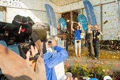 Stosur and Pearson receives keys to the city. GOLD COAST, AUSTRALIA - SEPTEMBER 19, 2011: 2011 US Open women's singles tennis winner Samantha Stosur and 100 Royalty Free Stock Photos