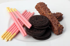 Stosy czekoladowego układ scalony ciastka Zdjęcie Royalty Free