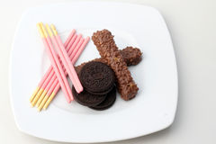 Stosy czekoladowego układ scalony ciastka Fotografia Royalty Free