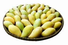 Stosy mangowy dojrzały żółty złoto w omłotowym koszu na białym tle zdjęcie royalty free