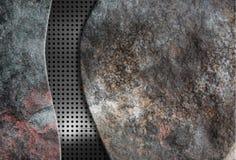 Stoun de fond avec la grille en métal Photographie stock libre de droits