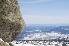 Stoune on top. Of the Mustag mountain Royalty Free Stock Photography