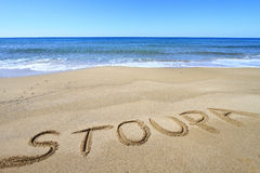 Stoupa written on the beach Royalty Free Stock Photos