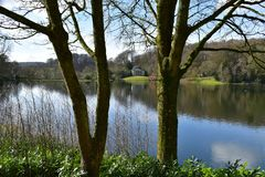 Stourhead的英国乡间别墅庭院 图库摄影