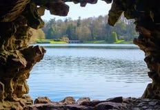 Stourhead garden bridge from the Grotto Stock Photo