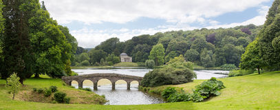 Stourhead garden bridge and Pantheon Royalty Free Stock Photography