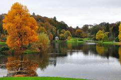 Stourhead Garden - Lake and Autumn Colours, Wiltshire Stock Image