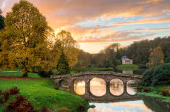 Stourhead Gardens. View of iconic Stourhead Gardens, Wiltshire, England. Designed by Colin Campbell, showing Pantheon in the background stock images