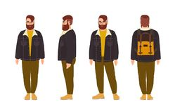 Stout bearded hipster man dressed in stylish clothing. Fat male cartoon character with trendy hairstyle and beard. Isolated on white background. Front, side royalty free illustration