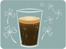 Stout Beer. A grunge style illustration of dark stout beer with stylized shamrocks Royalty Free Stock Photo