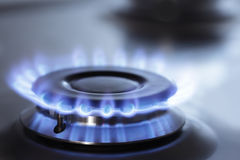 Stove. Blue gas flame in kitchen stove Stock Photography