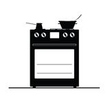 Stove black and white vector Stock Image