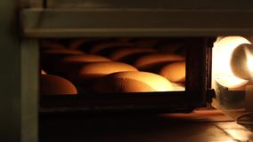 Stove with bread. Bread baking in the oven. Production of bread. Bakery at the bakery factory. Loaf of bread on the production line in the baking industry. Rye stock footage