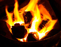 Stove With Flame From Charcoal. Stove and Charcoal with Flame Royalty Free Stock Photo