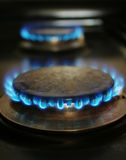 Stove flames. Two stove blue flames burning Royalty Free Stock Photos