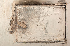 Stove flap. Old rusty white stove flap Stock Photo