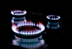 Stove gas. Closeup of a flame, gas stove stock photography