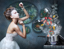 Stove. Housewife prepares meals. Food ingredients Royalty Free Stock Photos