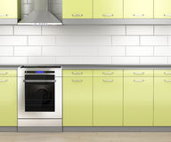 Stove and range hood in the kitchen Royalty Free Stock Photos