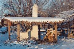 Stove under a canopy in winter Royalty Free Stock Photography