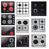 Stove vector cooking gas hob and cooker oven home appliance in kitchen illustration household set of kitchenette burner. Equipment to cook isolated on white royalty free illustration