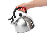Stovetop Whistling Kettle In Hand Royalty Free Stock Photo