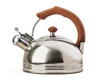 Stovetop whistling kettle isolated on white background. Stock Images