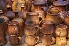 Stoviglie ceramiche fatte di argilla Immagini Stock Libere da Diritti