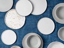 Stoviglie ceramiche, vista superiore Fotografia Stock Libera da Diritti