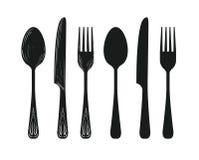 Stoviglie quale il cucchiaio, coltello, siluetta della forcella Immagini Stock