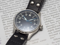 Stowa pilot watch with journal background Royalty Free Stock Photography