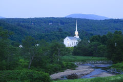 Stowe Community Church at dusk Royalty Free Stock Photography