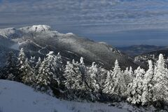 Stowe Ski Resort in Vermont, view to the Mansfield mountain slopes