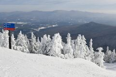 Stowe Ski Resort in Vermont, view to the mountain slopes