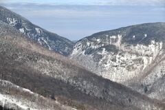 Stowe Ski Resort in Vermont, view to the the Smugglers Notch pass