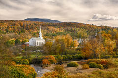 Stowe, Vt Church and fall foliage Stock Photos