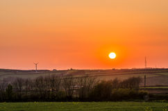 Stowford farm meadows sunset Royalty Free Stock Photos