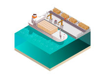 Stowing Ship Isometric Composition Royalty Free Stock Images