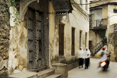 Stowntown alley ways on Zanzibar Island, off the coast of Tanzan stock image