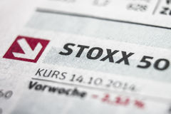 Stoxx 50宏指令概念 免版税库存照片