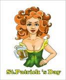 StPatrick 's天妇女用与红色头发的啤酒 向量例证
