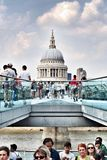Stpauls cathedral millennium bridge people architecture. Millennium bridge in Royalty Free Stock Images