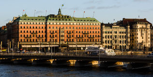 Strömbron magnífico i Estocolmo del vid del hotel Imágenes de archivo libres de regalías