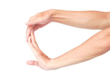 Sträcka fingrar övningar vit bakgrund för jonen, hälsovård Co royaltyfria bilder